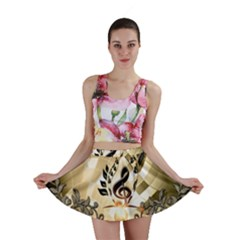 Clef With  And Floral Elements Mini Skirts