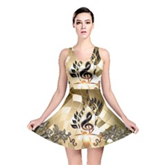 Clef With  And Floral Elements Reversible Skater Dresses