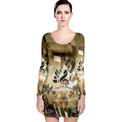 Clef With  And Floral Elements Long Sleeve Bodycon Dresses