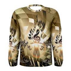 Clef With  And Floral Elements Men s Long Sleeve T Shirts