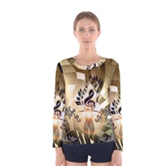 Clef With  And Floral Elements Women s Long Sleeve T-shirts