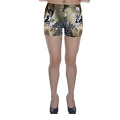 Clef With  And Floral Elements Skinny Shorts