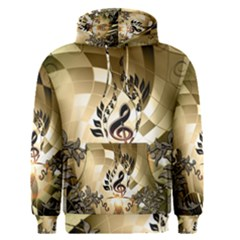 Clef With  And Floral Elements Men s Pullover Hoodies