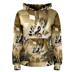 Clef With  And Floral Elements Women s Pullover Hoodies
