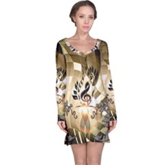 Clef With  And Floral Elements Long Sleeve Nightdresses