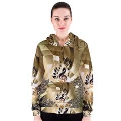 Clef With  And Floral Elements Women s Zipper Hoodies