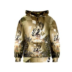 Clef With  And Floral Elements Kids Zipper Hoodies