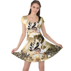 Clef With  And Floral Elements Cap Sleeve Dresses