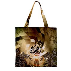 Clef With  And Floral Elements Zipper Grocery Tote Bags