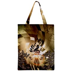 Clef With  And Floral Elements Zipper Classic Tote Bags