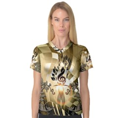 Clef With  And Floral Elements Women s V-Neck Sport Mesh Tee