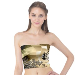 Clef With  And Floral Elements Women s Tube Tops