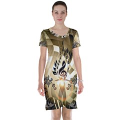 Clef With  And Floral Elements Short Sleeve Nightdresses