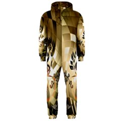 Clef With  And Floral Elements Hooded Jumpsuit (Men)