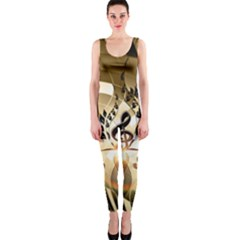 Clef With  And Floral Elements Onepiece Catsuits