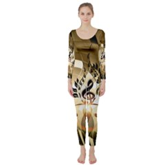 Clef With  And Floral Elements Long Sleeve Catsuit