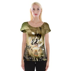 Clef With  And Floral Elements Women s Cap Sleeve Top