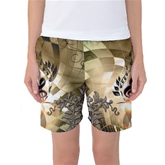 Clef With  And Floral Elements Women s Basketball Shorts