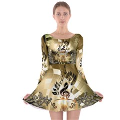 Clef With  And Floral Elements Long Sleeve Skater Dress