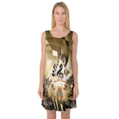 Clef With  And Floral Elements Sleeveless Satin Nightdresses
