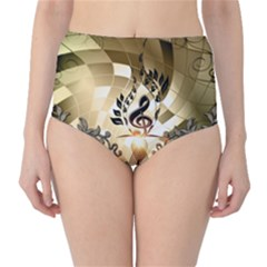 Clef With  And Floral Elements High Waist Bikini Bottoms