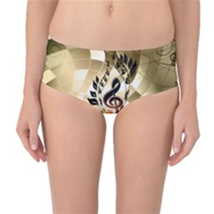 Clef With  And Floral Elements Mid-Waist Bikini Bottoms