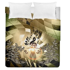 Clef With  And Floral Elements Duvet Cover (full/queen Size)
