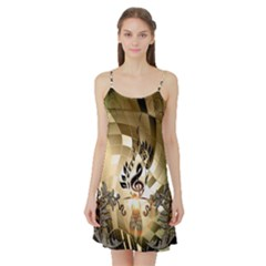 Clef With  And Floral Elements Satin Night Slip