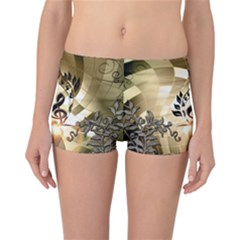 Clef With  And Floral Elements Reversible Boyleg Bikini Bottoms