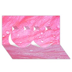 Pink Twin Hearts 3D Greeting Card (8x4)