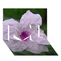 Pink Purple Flowers I Love You 3D Greeting Card (7x5)