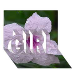 Pink Purple Flowers Girl 3d Greeting Card (7x5)