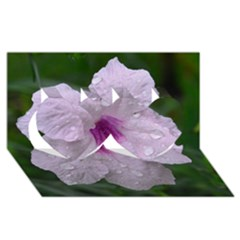 Pink Purple Flowers Twin Hearts 3D Greeting Card (8x4)