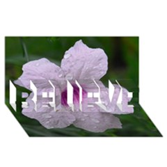 Pink Purple Flowers BELIEVE 3D Greeting Card (8x4)