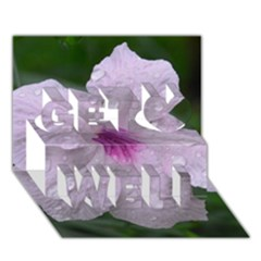 Pink Purple Flowers Get Well 3D Greeting Card (7x5)