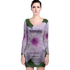 Pink Purple Flowers Long Sleeve Bodycon Dresses