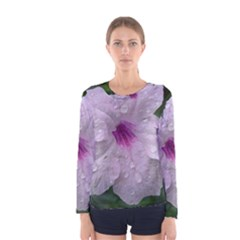 Pink Purple Flowers Women s Long Sleeve T Shirts