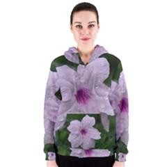 Pink Purple Flowers Women s Zipper Hoodies