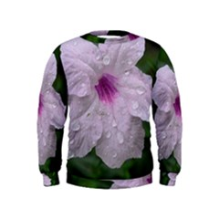 Pink Purple Flowers Boys  Sweatshirts