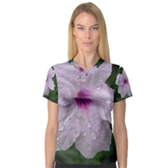 Pink Purple Flowers Women s V-Neck Sport Mesh Tee