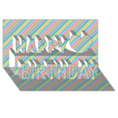 Stripes 2015 0401 Happy Birthday 3D Greeting Card (8x4)