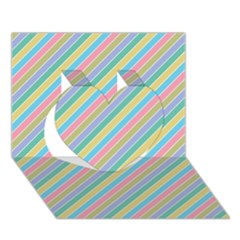 Stripes 2015 0401 Heart 3d Greeting Card (7x5)