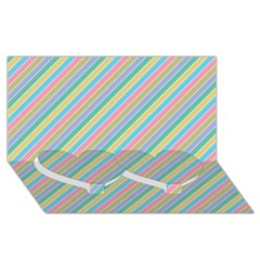 Stripes 2015 0401 Twin Heart Bottom 3D Greeting Card (8x4)