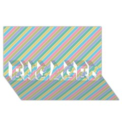 Stripes 2015 0401 ENGAGED 3D Greeting Card (8x4)