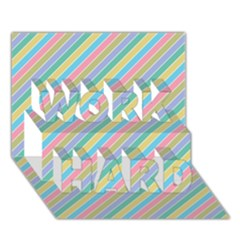 Stripes 2015 0401 WORK HARD 3D Greeting Card (7x5)