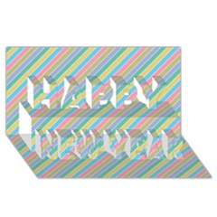Stripes 2015 0401 Happy New Year 3D Greeting Card (8x4)