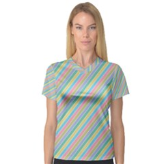 Stripes 2015 0401 Women s V-Neck Sport Mesh Tee