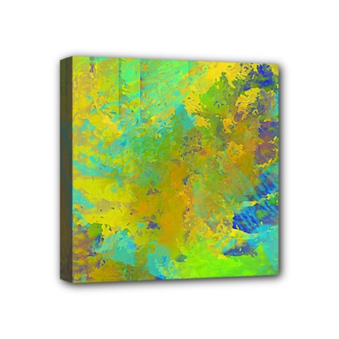 Abstract In Blue, Green, Copper, And Gold Mini Canvas 4  X 4