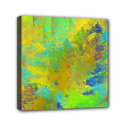 Abstract in Blue, Green, Copper, and Gold Mini Canvas 6  x 6