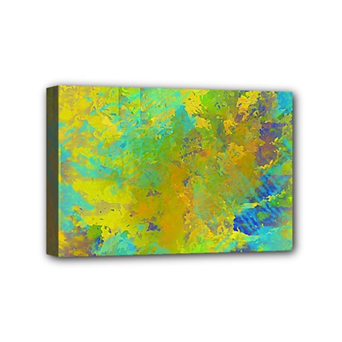 Abstract In Blue, Green, Copper, And Gold Mini Canvas 6  X 4